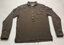 Men's Billy Reid long sleeve polo shirt Brown size Large (L) Pockets EXCELLET