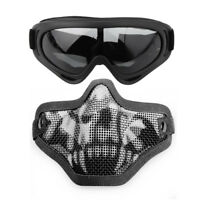 Airsoft Steel Wire Mesh Half Face Mask Tactical Hunting + Protective Goggles