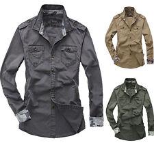 New Double pocket Military Cotton Men's Epaulet Casual Slim Fit Dress Shirts