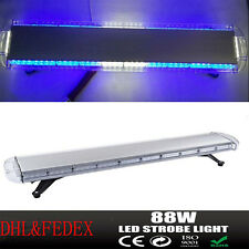"88 LED Flash Strobe Light Bar 47"" Modes Emergency Warning Roof Top Blue&White"