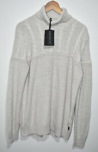 Ted Baker Chunky Knit Rolly Roll Neck Mens Jumper Pullover Cream UK XL NEW BNWT