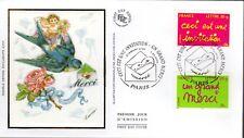 3760/1+ FDC   ENVELOPPE  1er JOUR SUR SOIE  INVITATION -  UN GRAND MERCI