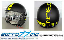 NUOVO CASCO MOMO DESIGN FIGHTER FLUO NERO OPACO DECAL. GIALLO FLUO TG. M