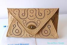 Genuine leather ethnic hand tooled emboss boho envelope clutch bag vintage insp