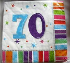 age 70 Napkins 70th Birthday party supplies tableware serviettes FREE P&P