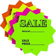 "100 3"" SALE Price Solar Star Burst Neon Fluorescent Retail Signs 25 Each Color"