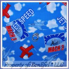 BonEful Fabric FQ Cotton Quilt Blue Cloud Sky Airplane Red Jet Air Force Boy OOP