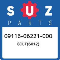 09116-06221-000 Suzuki Bolt(6x12) 0911606221000, New Genuine OEM Part