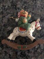 Vintage Teddy Bear Rocking Horse Christmas Tree Ornament