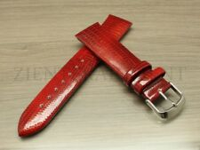 16 18 20 22MM Black White Blue Brown Pink Leather Lizard Watch Band Strap Shiny