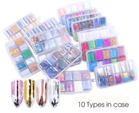 10 Design Holographic Nail Art Transfer Foil Stickers Starry UV Gel Nail Decals