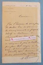 L.A.S 1904 Capitaine Commandant 4è régiment d'artillerie de Besançon Lettre LAS