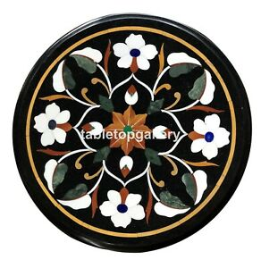 "12"" Marble Side Coffee Table Top White Floral Mosaic Inlay Art Patio Decors B118"
