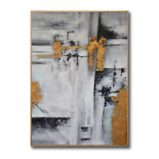 YA402 100% Hand-painted Abstract Gold foil oil painting on canvas Color art