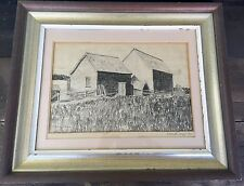 1940 Original Drawing Barns On Beinn Brea Baddeck Nova Scotia M.Lloyd