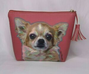 Contemporary Chihuahua Faux Leather Zipper Bag