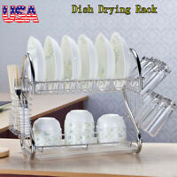 2 Tier Dish Drying Rack Drainer Kitchen Storage Space Saver Stainless Steel NEW