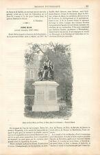Statue de Pierre Belon par Filleul Sculpteur Place de la Préfecture GRAVURE 1888