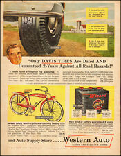 1953 Vintage Ad Western Auto Stores`Art, Farm Red Bicycle`Car Battery
