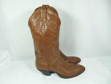 Nocona Womens 9B Dark Caramel Brown Leather Cowgirl Cowboy Western Boots