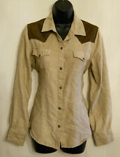 Bit & Bridle Country Western Shirt Medium Micro Suede Snap Front Cowgirl Top