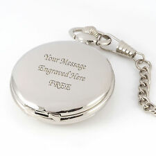 Engraved Silver Pocket Watch/Chain Best Man Usher Wedding Gift Personalised FREE