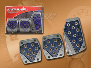 BLUE/ GRAY MANUAL BRAKE GAS CLUTCH RACING PEDAL PADS FOR CARS 1997-2001