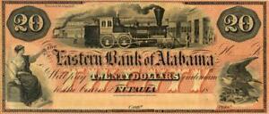 Alabama Eastern Bank $20 Dollars Obsolete Currency Banknote ca 1860 CU