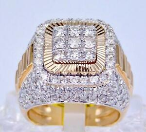 WOW! MEN'S LARGE 14K YELLOW GOLD 3 7/9CT DIAMOND CLUSTER PRESIDENT RING