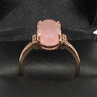 2 Ct Oval Pink Quartz Paved Band Ring Women Engagement Wedding Jewelry Gift