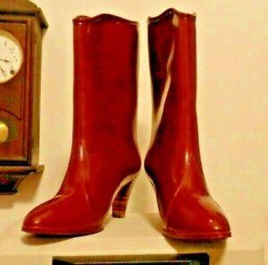 Burgundy High Heel Dress  Rubber Rain Boots Wellies  10 EUC