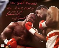 "RIDDICK BOWE SIGNED 16X20 INSCRIBED ""KNOCKED OUT"" AUTOGRAPH #D/50 COA HOLYFIELD"
