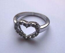 zircone cubico Argento Sterling a forma di cuore forma misura anello K 3G