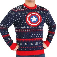 MARVEL CAPTAIN AMERICA UGLY CHRISTMAS KNITTED SWEATER SIZE M