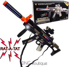 BIG Light Up Assault Rifle Machine Gun Toy Kids Moving Barrel LED Tommy Pistol