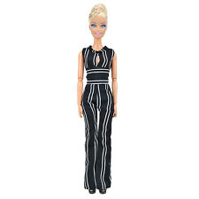 E-TING Fashion Doll Clothes Black&White Striped Casual Jumpsuits For Barbie Doll