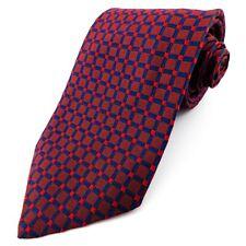 AUSTIN REED 100% Pura Seda Rojo Geométrico Corbata Para Hombre Azul Marino