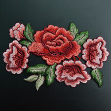 Embroidered Rose Flower Patch Badge Floral Collar Sew Applique Bust Dress Craft