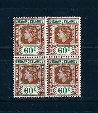 LEEWARD ISLANDS 1954 DEFINITIVES SG137 60c BLOCK OF 4 MNH