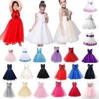Kids Baby Girls Princess Dress Wedding Bridesmaid Pageant Party Bow Tutu Dresses