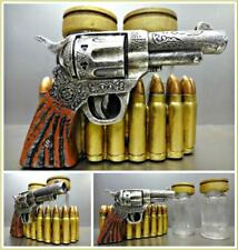 Western Gun Pistol Six Shooter Bullets Salt Pepper Shaker Holder Set Rustic Deco