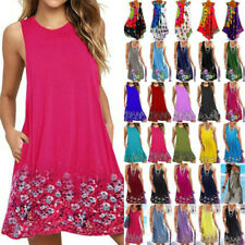 Women Summer Sleeveless Boho Mini Dress Floral Holiday Beach Sundress Plus Size