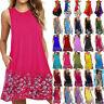 Women Summer Sleeveless Boho Mini Dress Floral Casual Beach Sundress Plus Size