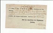 Th & T / CASSEL 14. Decbr. 1810, querform. Zeitungs-Exped.-Schein