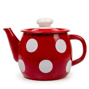 1.1-Qt White Polka Dot Red BREWING TEAPOT . Sturdy Durable Tea Pot