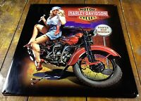 HARLEY DAVIDSON MOTORCYCLES FIXER UP BABE METAL HIGHLY EMBOSSED ADVERTISING SIGN