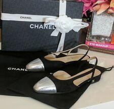 Authentic Receipt BNIB Chanel Slingback Flats Shoes Black Silver EU 36.5 36 1/2