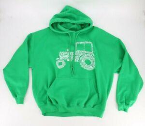 Gildan Mens Hooded Sweatshirt Hoodie Size XL Green Tractor Theme