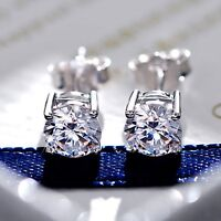 18ct white gold GF made with swarovski crystal ladies stud earrings SOLITAIRE