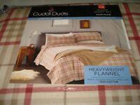 Cuddl Duds QUEEN XDeep heavy-wght Flannel sheet set-KHAKI PLAID GRAHAM OEKO-TEX